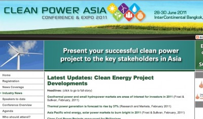 Clean Power Asia 2011 to host 250 experts in Bangkok, June 28-30, 2011