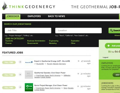 Various new geothermal jobs available on jobs@thinkgeoenergy
