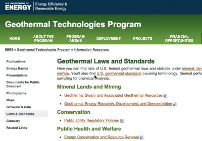 List of U.S. Geothermal legislation and standards