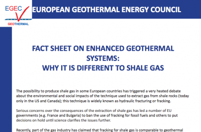 EGEC releases factsheet on EGS and the differences to shale gas