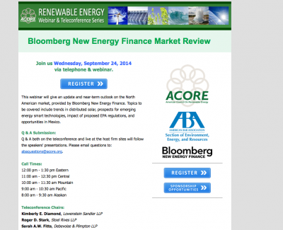 Bloomberg NEF Webinar North America Market review, Sept 24, 2014