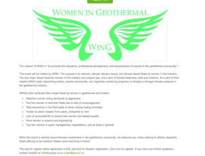 Women in Geothermal (Wing) networking event, Vancouver, Canada – Oct 17, 2014