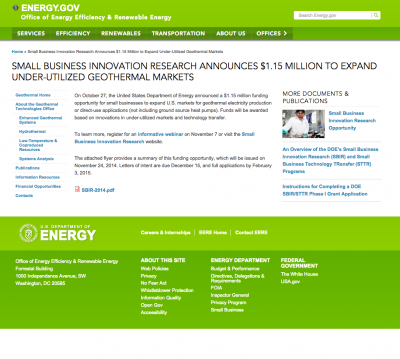 DOE small business $1.15m geothermal innovation funding opportunity