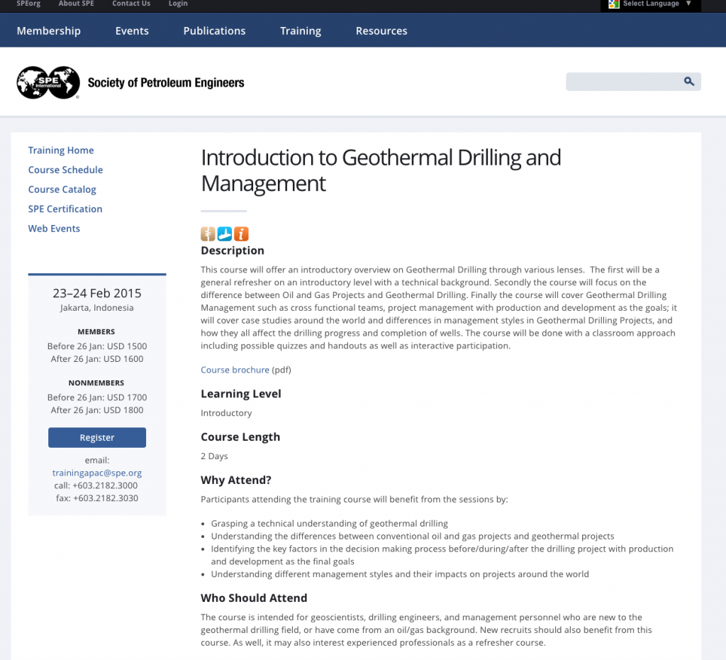 SPE offers Introduction to Geothermal Drilling and