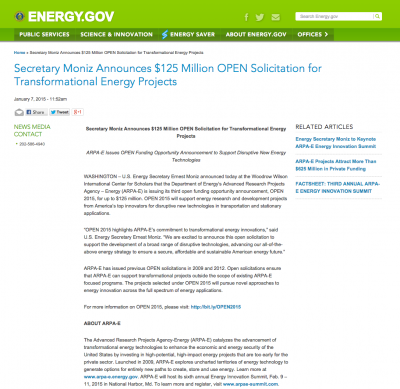 U.S. DOE  $125 million research funding opportunity for energy innovation