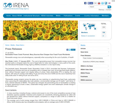 IRENA: many renewable energy technologies now cheaper than fossil fuels