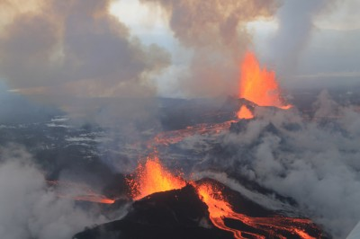 Great drone video coverage from Icelandic volcano