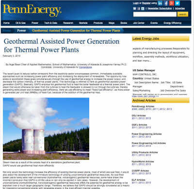 Article on geothermal use in thermal power plants