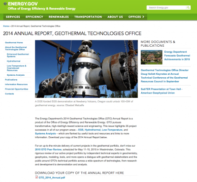 Annual report of U.S. Geothermal Technologies Office released