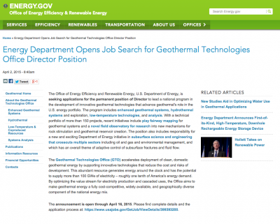 U.S. DOE seeks to fill position of Director at the Geothermal Technologies Office