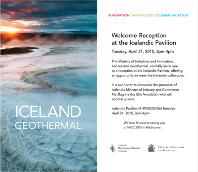 Iceland's Minister for Energy to host welcome reception at Icelandic Pavilion at WGC