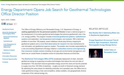 U.S. DOE seeks to fill position of Director of Geothermal Technology Program