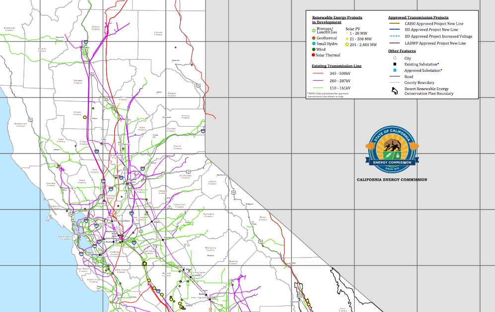Map Of All Renewable Energy Projects In The State Of California - Map of all california cities