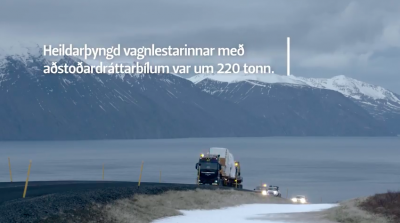 Video footage on transport of geothermal turbine to project site in Iceland