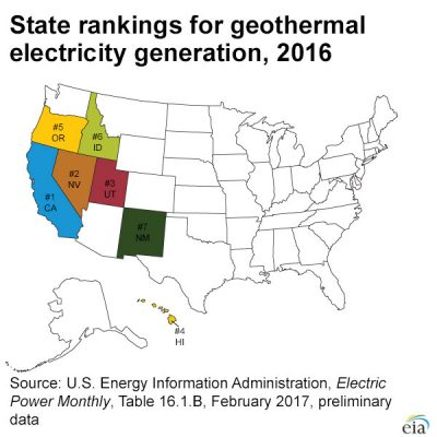 Updated map of geothermal electricity generation in U.S.