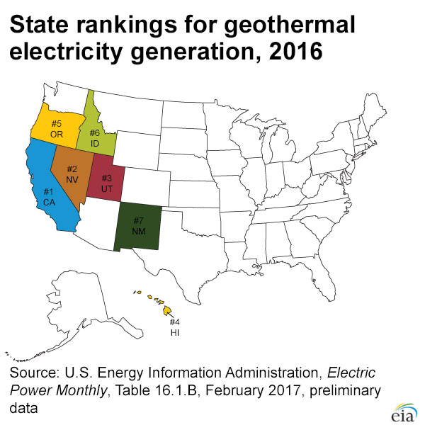 Updated map of geothermal electricity generation in U.S. | Think ...