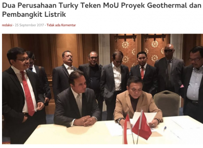 Two Turkish firms sign MOU for geothermal development in Aceh, Indonesia