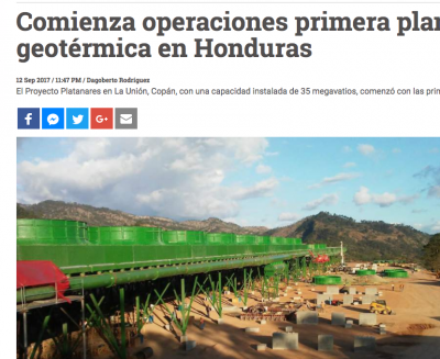 Ormat starts commercial operation of 35 MW Platanares geothermal plant in Honduras