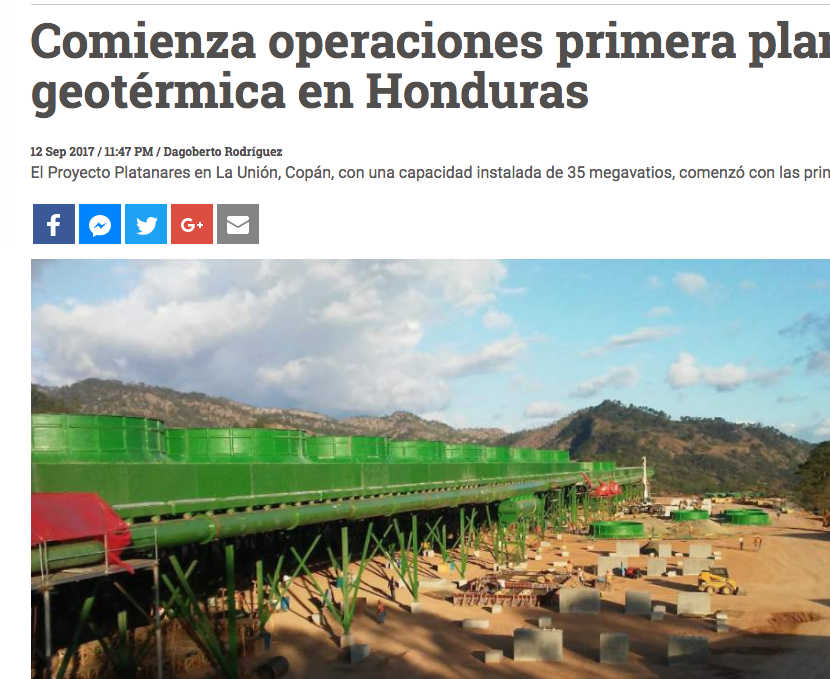 ormat starts commercial operation of 35 mw platanares geothermal