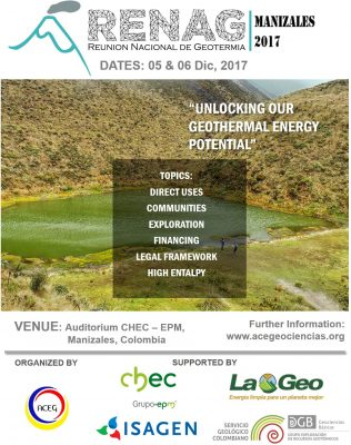 2017 National Geothermal Meeting in Manizales, Colombia, 5-7 Dec. 2017
