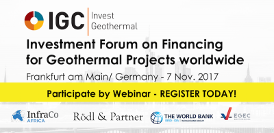 Webinar option for IGC Invest Geothermal – Finance Forum, November 7, 2017