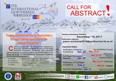 ITB International Geothermal Workshop, Bandung 2018 – Call for Abstracts