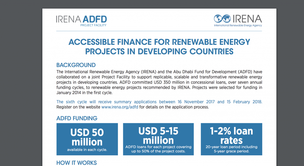 Deadline approaching for $50 million funding cycle of IRENA