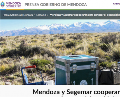 Mining and geothermal research part of new cooperation in Mendoza, Argentina