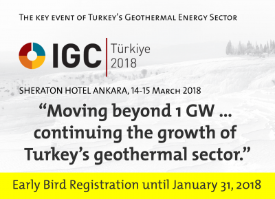 Early Bird deadline today for IGC Turkey geothermal congress, 14-15 March 2018