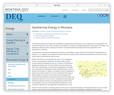 Geothermal Energy in the State of Montana/ U.S. – information website