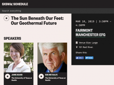 SXSW – The Sun Beneath Our Feet: Our Geothermal Future, March 10, 2019
