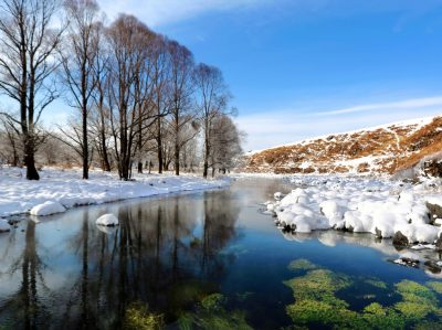 Heated by geothermal – the Unfrozen River of Inner Mongolia in China