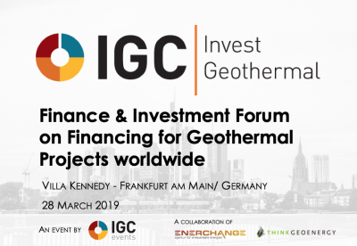 2nd IGC Invest Geothermal Finance & Investment Forum, 28 March 2019 – Frankfurt