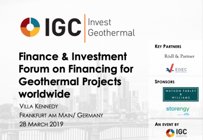 2nd IGC Invest Geothermal Finance Forum, 28 March 2019 – less than 3 weeks away
