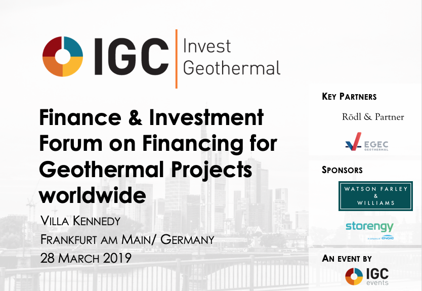 2nd IGC Invest Geothermal Finance Forum, 28 March 2019 - less than 3