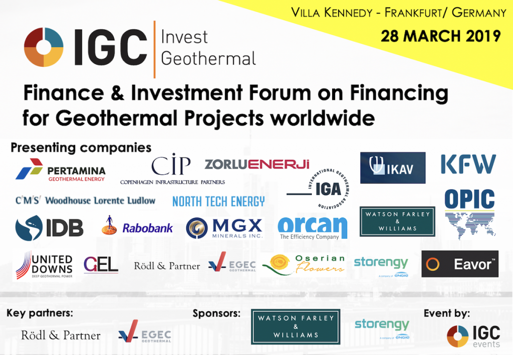 Final program released for IGC Invest Geothermal - 28 March 2019