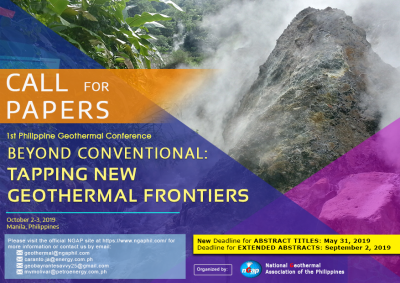 Update: Call for Papers – Philippine Geothermal Conference (NGAP) – May 31, 2019