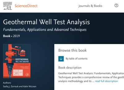New book provides comprehensive overview on Geothermal Well Test Analysis
