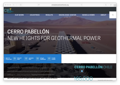 Climate Investment Funds – Cerro Pabellon geothermal plant  showcase website