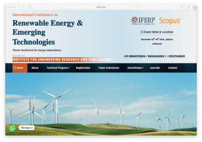 Int'l Conference on Renewable Energy & Emerging Technologies (ICREET) – 13-14 Nov. 2019, Jakarta/ Indonesia
