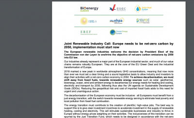 Industry call: To make Europe net-zero carbon by 2050, implementation needs to start now