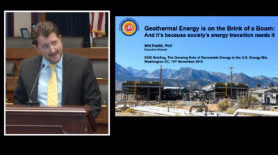 Presentation by Will Pettitt, of GRC in renewable energy briefing in U.S.