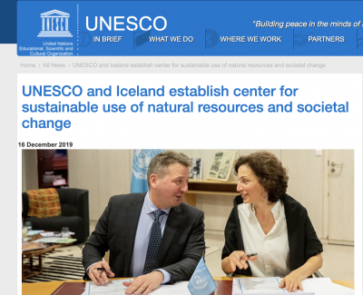 Iceland and UNESCO establish Int'l Center for Capacity Development, incl. geothermal