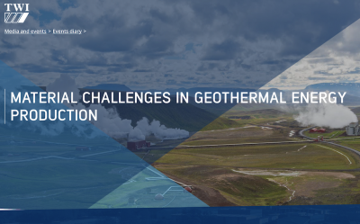 Webinar: Material challenges in geothermal energy production, 22 Jan. 2020