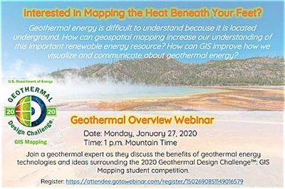 Webinar – Geothermal Design Challenge/ GIS Mapping – 27 Jan. 2020