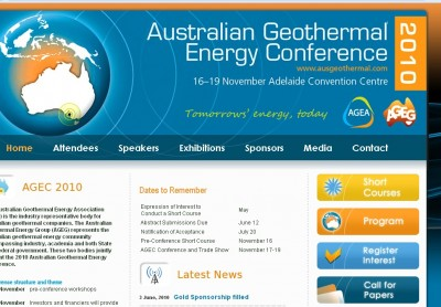 Australian Geothermal Energy Conference 2010, November 16-19