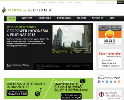 Geothermal news in Spanish via PiensaGeotermia