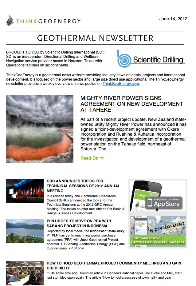Stay up to date – sign up for the ThinkGeoEnergy weekly Newsletter