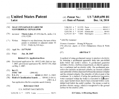 U.S. patent issued for self contained in-ground geothermal generator