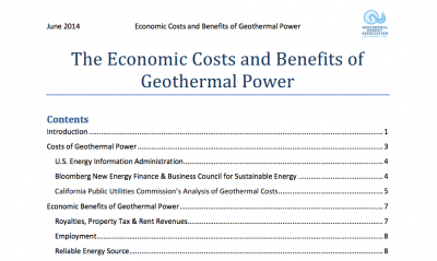 Geothermal power costs and benefits covered in new GEA report